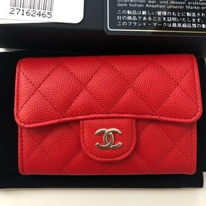New With Tags 19C Red Chanel Card Holder